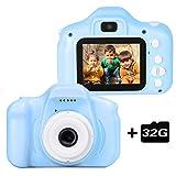le-idea Cámara para niños Cámara de Fotos Digital 2 Objetivos Selfie 12MP Cámara Digital 1080P...